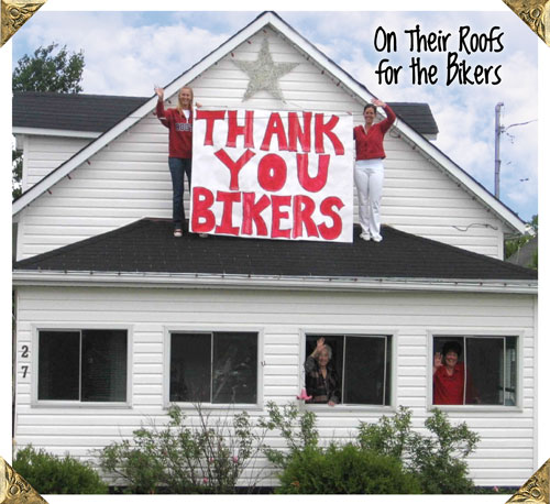 Thank You Bikers sign