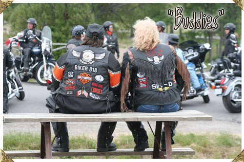 Bikers on a Bench